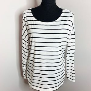 Black and White Long Sleeve Basic Top
